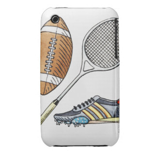 Illustration of rugby ball, tennis racquet, iPhone 3 covers