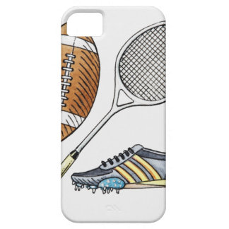 Illustration of rugby ball, tennis racquet, iPhone 5 cases