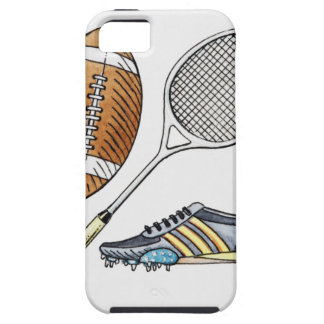 Illustration of rugby ball, tennis racquet, iPhone 5 covers