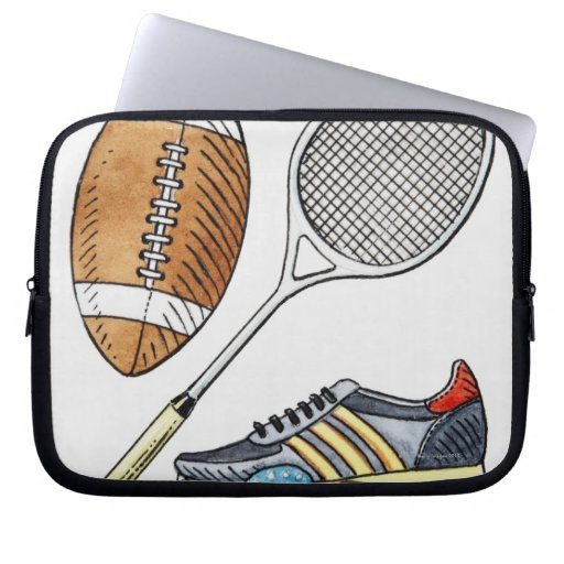 Illustration of rugby ball, tennis racquet, laptop sleeve