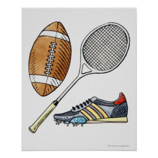 Illustration of rugby ball, tennis racquet, poster