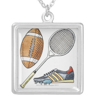Illustration of rugby ball, tennis racquet, silver plated necklace