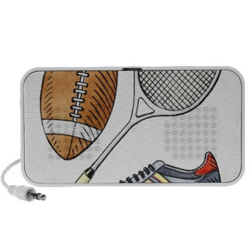Illustration of rugby ball, tennis racquet, speakers