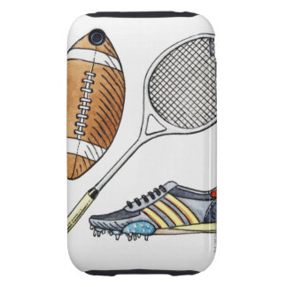 Illustration of rugby ball, tennis racquet, tough iPhone 3 covers