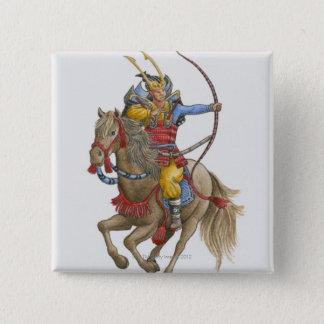 Illustration of Samurai on horseback holding bow 15 Cm Square Badge