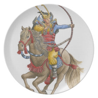 Illustration of Samurai on horseback holding bow Plate