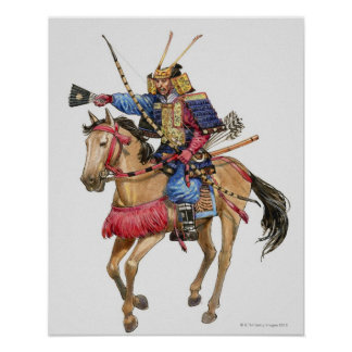 Illustration of Samurai on horseback Poster