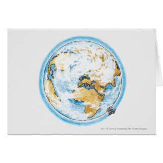 Illustration of satellite orbiting the Earth Greeting Card