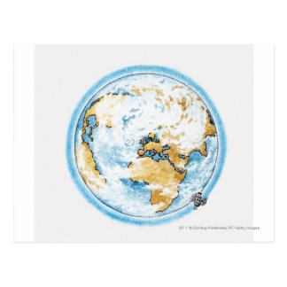 Illustration of satellite orbiting the Earth Postcard