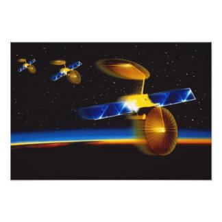 Illustration of satellites over Earth s horizon Photo