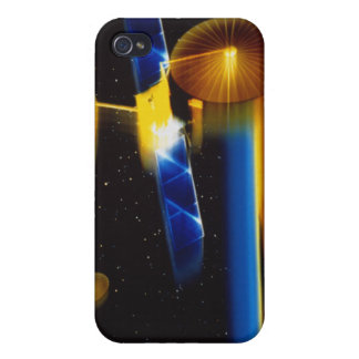 Illustration of satellites over Earth's horizon iPhone 4 Cover