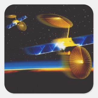 Illustration of satellites over Earth's horizon Square Sticker