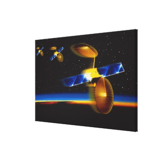 Illustration of satellites over Earth's horizon Stretched Canvas Prints