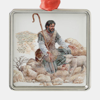 Illustration of shepherd finding his lost sheep christmas ornament