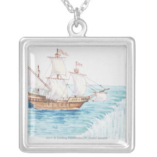 Illustration of ship approaching edge of waterfall silver plated necklace
