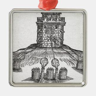 Illustration of siege warfare christmas ornament