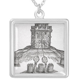 Illustration of siege warfare silver plated necklace