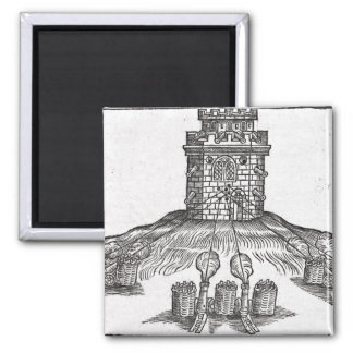 Illustration of siege warfare square magnet