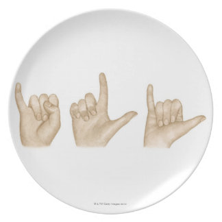 Illustration of sign language using fingers and dinner plates