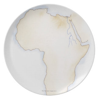 Illustration of simple outline map of Africa Party Plates