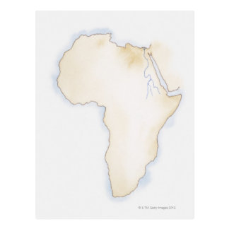 Illustration of simple outline map of Africa Postcard
