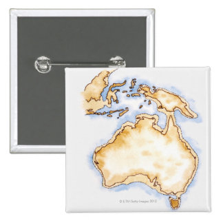 Illustration of simple outline map of Australia Pinback Button