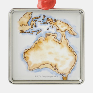 Illustration of simple outline map of Australia Christmas Ornament