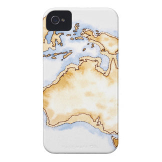 Illustration of simple outline map of Australia iPhone 4 Cover