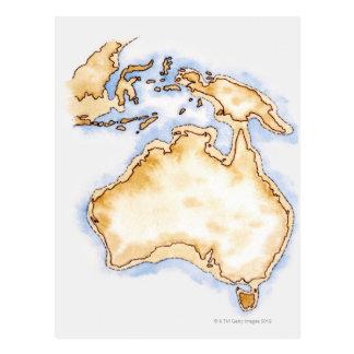 Illustration of simple outline map of Australia Postcard