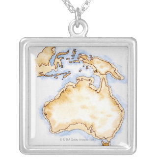 Illustration of simple outline map of Australia Silver Plated Necklace