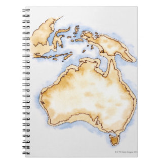 Illustration of simple outline map of Australia Spiral Notebook