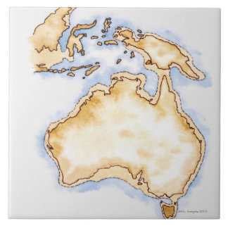 Illustration of simple outline map of Australia Tile