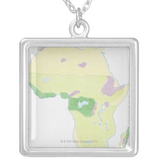 Illustration of simple outline map showing silver plated necklace