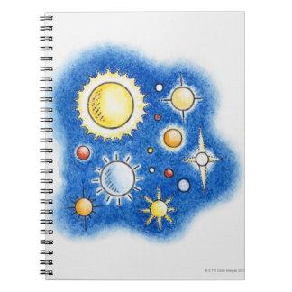 Illustration of solar system notebooks