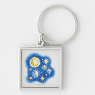 Illustration of solar system Silver-Colored square key ring