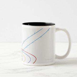 Illustration of solar system with path of coffee mug