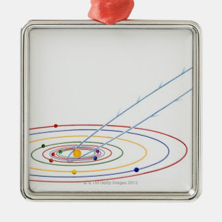 Illustration of solar system with path of Silver-Colored square decoration
