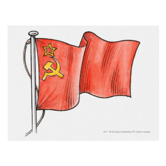 Illustration of Soviet flag Postcard