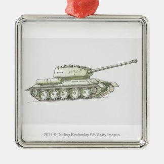 Illustration of tank Silver-Colored square decoration