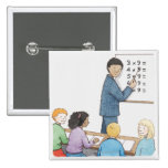 Illustration of teacher pointing at simple 15 cm square badge