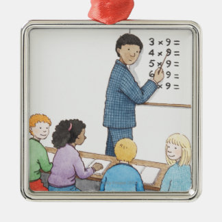 Illustration of teacher pointing at simple christmas ornament