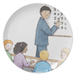 Illustration of teacher pointing at simple plates