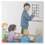 Illustration of teacher pointing at simple large square tile