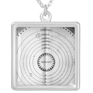 Illustration of the Cosmos Silver Plated Necklace