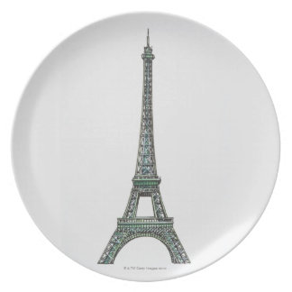 Illustration of the Eiffel Tower Plate