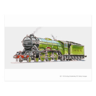 Illustration of the Flying Scotsman train Postcard