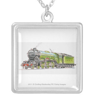 Illustration of the Flying Scotsman train Silver Plated Necklace