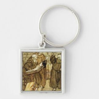 Illustration of 'The Jackdaw of Rheims' Silver-Colored Square Key Ring