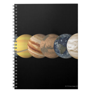 Illustration of the Planets in Alignment Spiral Notebook