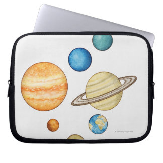 Illustration of the planets of the solar system laptop sleeve